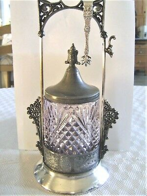 Victorian Antique Pickle Castor Homan Silver Plate Company Purple Jar L@@k