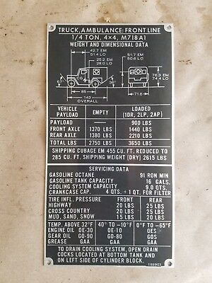 M151A1C MUTT 106RR Data Plate Information G838 Cannon Jeep
