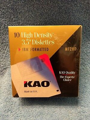 """Sealed NEW  KAO MF2HD  10 High Density 3.5"""" Diskettes IBM Formatted"""