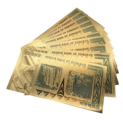 1PC Gold Plastic Zimbabwe 100 Trillion Paper Money Banknote Collection Gift