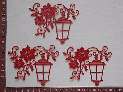 Die Cuts - Red Lanterns x 3 Christmas Embellishments