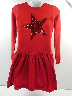 14afee815a CAT   JACK Red Pop Girls Sweater Dress Size M 7-8 Long Sleeve Sequin ...