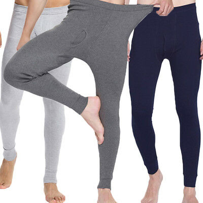 Mens 100% Cotton Thermal Underwear Winter Warm Long Johns Leggings Bottoms Pants
