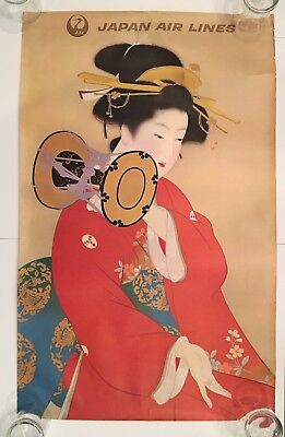 Vintage Japan Airlines JAL poster GEISHA circa 1968