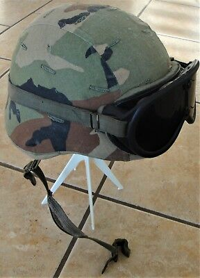 Us Gi Issue Combat Helmet With Woodland Camo Cover And Goggles