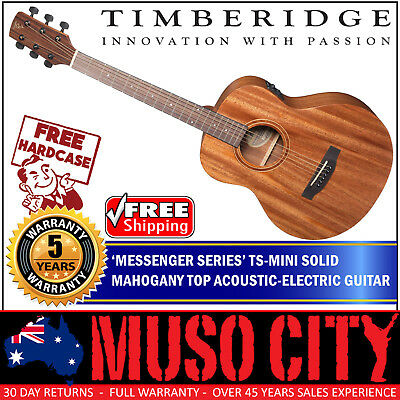 New Timberidge Left Handed TS-Mini Solid Mahogany Top Acoustic-Electric Guitar