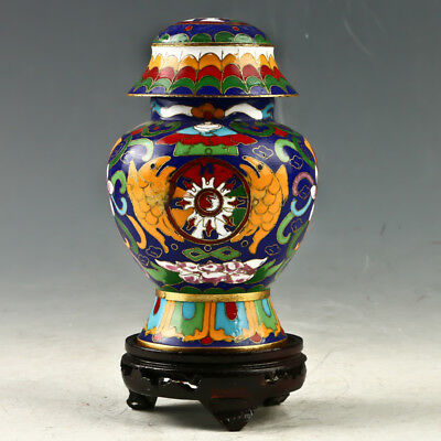 Chinese Cloisonne Hand-made Flowers& Fish Pot GL1104