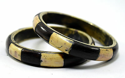 Set Of 2 Indian Brass Base Bangle Old Mosaic Wood Ivr Inlay Bracelet. i8-36 AU