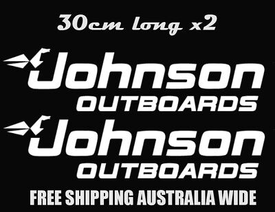 JOHNSON OUTBOARD STICKERS  30 CM Long X 2 Car Ute Trailer Boat Fishing