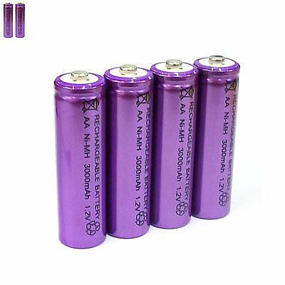 2 pcs AA LR06 3000mAh 1.2V NI-MH rechargeable battery CELL/RC MP3 SILVER PURPLE