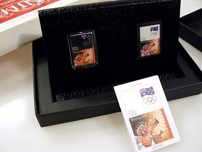 2008 Beijing Olympics Stamp Coin Set 1/2 ounce silver proof coin.