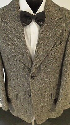 VINTAGE 70's Wide Lapel Grey Herringbone WOOL jacket size 40. ALPINE by Jedsons.