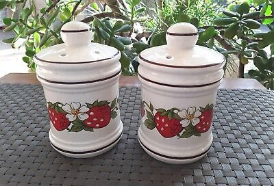 Vintage Gempo Salt & Pepper Shakers Strawberries Japan 1970's Retro