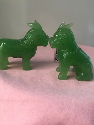 A Pair of Vintage Chinese Green Jade Carved Lion/Kylin Statues