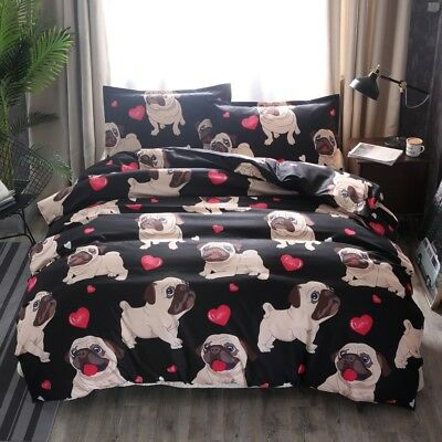 Pug Puppy Dog Animal Duvet Doona Quilt Cover Set Print Bedding Double Queen Size