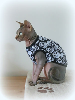sizes summer vest SKULL for a Sphynx cat, cat clothes, cat top, cat jumper
