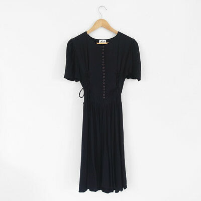Sweet Black Vintage Lace Up Corset Button Up Dress - 6,8 - Rouje French Style