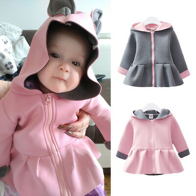Baby Girl Rabbit Ear Hoodies Coat Ruffle Autumn Winter Jacket Outwear Clothes US