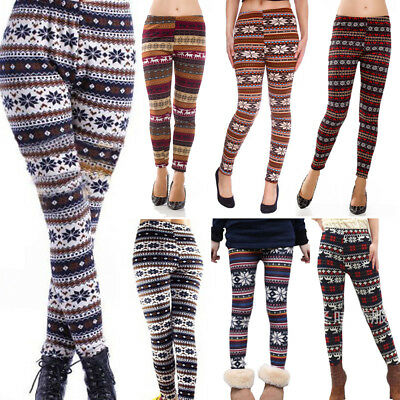 954f0b273a7a2c Women's Fleece Lined Thick Nordic Leggings Winter Warm Insulated Christmas  Pants