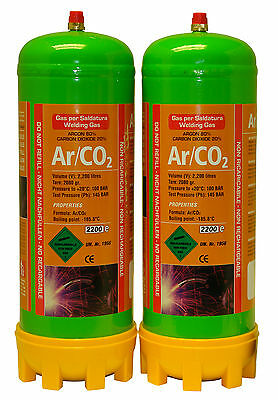 Argon/Co2 2x 220ltr gas bottle for MIG welding disposable cylinder