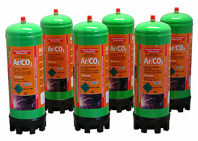 Argon/Co2 6x 220ltr gas bottles for MIG welding disposable cylinders
