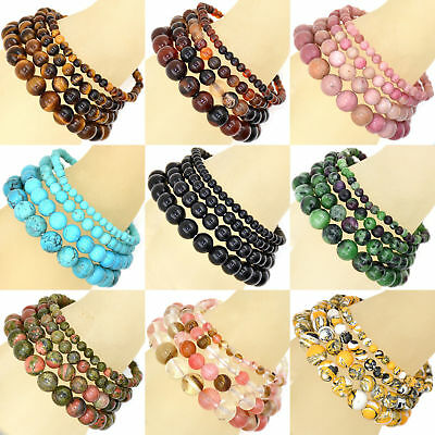 Hot! 6mm 8mm 10mm Handmade Natural Gemstone Round Beads Stretch Bracelet
