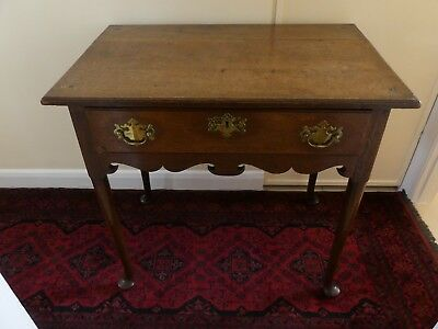Edwardian Oak Hall Side Table With Drawer