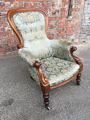 Antique Victorian Mahogany Framed Gents Chair - Armchair In Floral Fabric