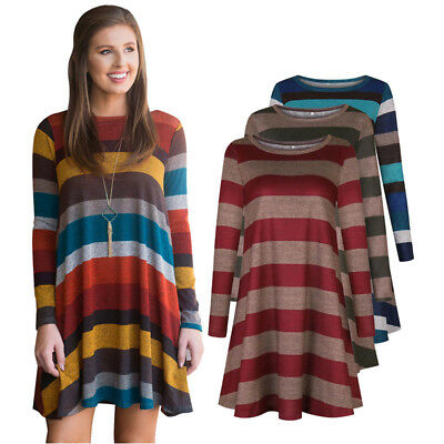Fashion Women's Classic Wide Stripes Long Sleeve Elestic Casual Loose Mini Dress