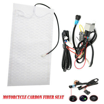 Warmer Winter Carbon Fiber Seat Heater Kit Heated Pad For Motorcycle ATV Bike UK