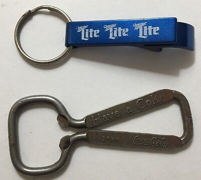Coca Cola bottle openers and Miller Lite  bottle opener old rare collectable
