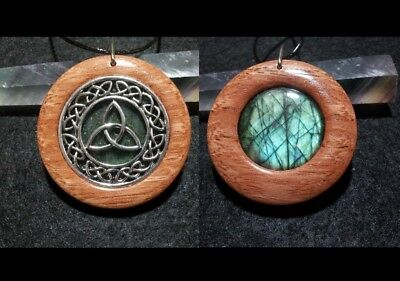 Triquetra Double Sided Pendant , wood and labradorite,Wiccan Jewelry,Celtic Knot