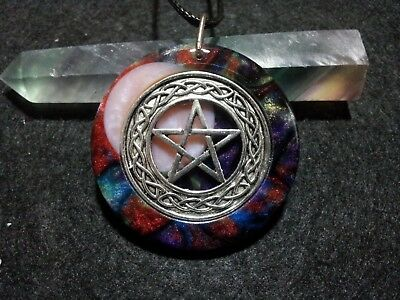 Pentacle and Moon Pendant, spiritual, pagan,wiccan jewelry,witchcraft,protection