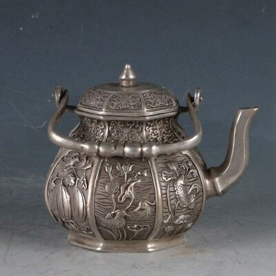 Chinese Silvering Copper Eight Treasures Teapot Made During The DaMing Xuande .a