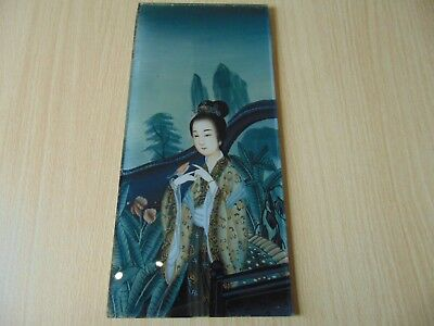 Vintage Good Quality Japanese Chinese Reverse Painted By Hand On Glass Figure