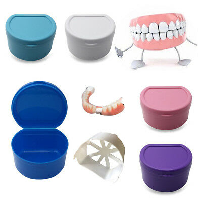 Denture Bath Box Case Dental False Teeth Storage Box with Hanging Net Container
