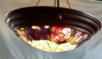 Vintage 3 Light Bronze Colored Stained Glass Look Pendant Ceiling Hanging Light