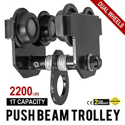 1 Ton Push Beam Track Roller Trolley Solid Steel Washers Included Handling Tool