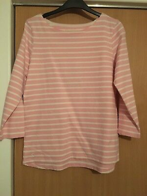 Joules Womens Pink White Stripe Harbour Top - Size 12 - New With Tag