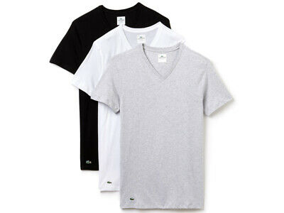 Lacoste Essentials - 3er Pack V-Neck T-Shirt - weiß schwarz grau