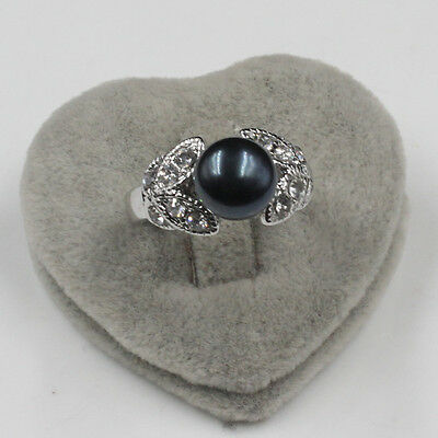 Eternity Friendship Journey 18K white gold filled black Pearl Wedding ring sz 9