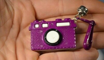 Vintage 80's Plastic Charm Bell Clip Necklace Camera