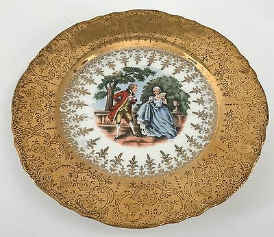 "Vintage H.K China Courting Couples 22 Karat Gold Inlay 6"" Plate"