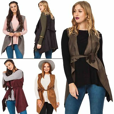 Womens Jacket Suedette flattering waterfall front Belted Ladies Coat Sleeveless