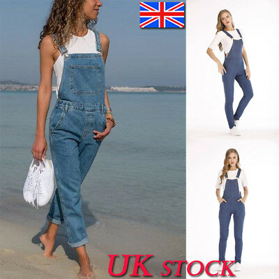 UK Women Ladies Denim Overalls Dungarees Jumpsuit Playsuit Trousers Jeans Size