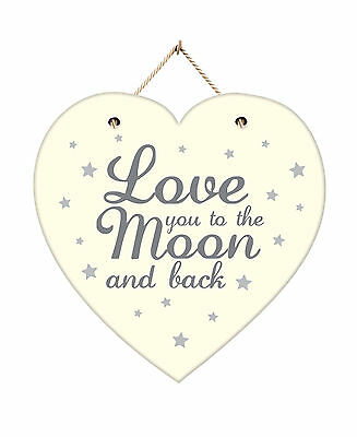 Wooden Hanging Wall Plaque Love You To The Moon And Back Home Decor Heart Sign