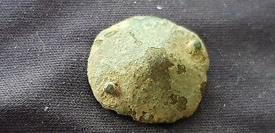 Nice little Roman copper alloy mount uncleaned condition found in Britain L57c