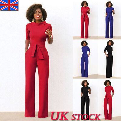 UK Women Ladies Holiday Half Sleeve Straight Wide Leg Jumpsuit Romper Size 10-18