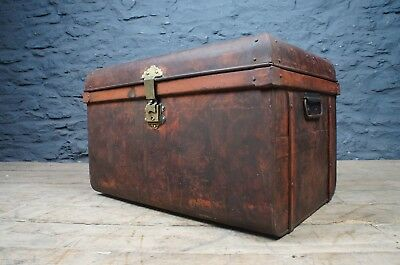 Antique Steamer Trunk / Tin Chest in Original Painted Finish ~ Unusual Shape