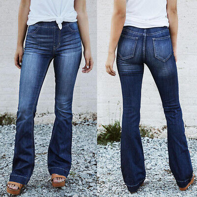 Womens Skinny Jeans Pencil Pants Demin High Waist Stretch Slim Casual Trouser US